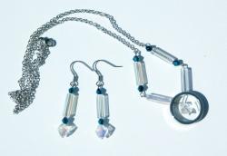 Schmuckset mit Edelstahlring Glasstäbchen Ohrhänger Halskette  irisierend klar blau Ring Set
