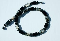 Halskette schwarz mit Silber-Bunt Rechtecke Glas millefiori Magnetverschluss Unikat