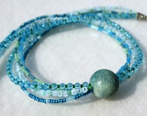 5-reihiges Collier KASKADE Glasperlen Schaumkoralle blau türkis grün - Handarbeit kaufen
