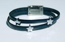 Armband STERNCHEN auf dunkelblauem Leder doppelt Magnetverschluss