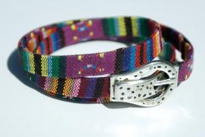 Wickelarmband Männer ETHNO Gürtel Schnalle Magnet Textil bunt - Handarbeit kaufen