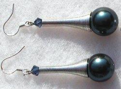 Ohrhänger MUSCHELKERN in der TÜTE  blau Silber lang Spirale ausgefallen