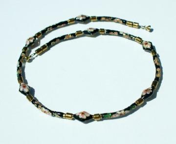 Halskette NOSTALGIE kurz Cloisonne schwarz gold rosa Blüten Hämatit zierlich romantisch vintage Set Einzelstücke