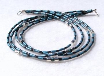 4reihiges Collier GLANZLICHTER Keramik Hämatit Jaspis Bergkristall versilbert Halskette Unikat glänzend elegant ausgefallen  - Handarbeit kaufen