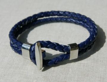 Männer- Armband DOPPEL navy Leder geflochten Knebel Bola lässig leger blau Geschenk