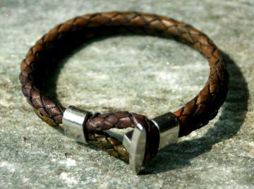 Männer- Armband DOPPEL mehrfarbig Leder geflochten Herbstfarben Knebel Bola lässig leger braun Geschenk