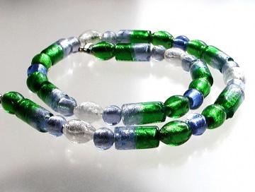 Halskette  FARBREIGEN  blau grün weiß Glas Silberfolie-Perlen verspielt frisch  - Handarbeit kaufen
