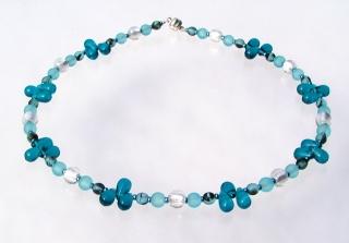 Halskette TROPFEN petrol türkis weiß Glasperlen Meeresfarben verspielt