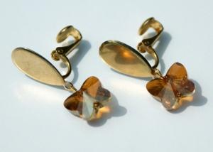Clips TROPFEN vergoldet Schmetterling romantisch  - Handarbeit kaufen