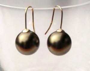 Ohrhänger MOOS Muschelkern Perle 925er Silber vergoldet
