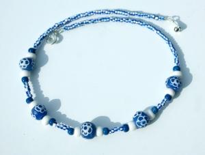 Halskette AFRIKA blau-weiß - Handarbeit kaufen