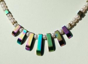 Halskette KLEIN aber FEIN Hämatit Glaswachsperlen bunter Glanz - Handarbeit kaufen