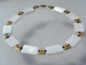 Collier GRANNY Perlmutt Rechtecke weiß gold kobaltblau retro