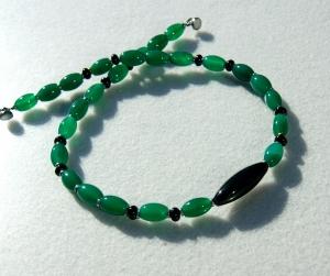 Halskette OLIVEN Achat Onyx grün schwarz elegant - Handarbeit kaufen