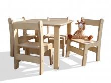Kindersitzgruppe - Kindermöbel - Tisch und 4 Stühle - naturbelassen und unglaublich stabil