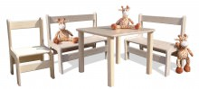 Kindersitzgruppe - Kindermöbel - Tisch, 2 Bänke und 1 Stuhl - naturbelassen und unglaublich stabil