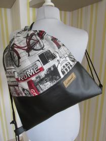 Turnbeutel - Rucksack - Festivalbag - Sacklzement -  unterwegs - Sporttasche - Badetasche - handgemachte Geschenke - Handarbeit kaufen