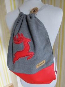 Turnbeutel - Rucksack - Trachtenrucksack - bestickt - Hirsch - Weihnachtsgeschenk - Trachtentasche - Trachtenaccessoire