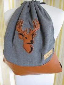 Turnbeutel - Rucksack - Trachtenrucksack - bestickt - Hirsch - Trachtentasche - handgemachte Geschenke  - Handarbeit kaufen