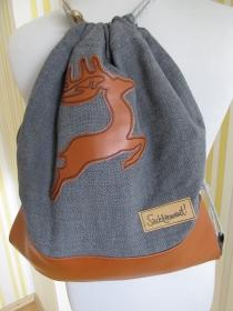 Turnbeutel - Rucksack - Trachtenrucksack - bestickt - Hirsch - Trachtentasche - Tasche - Handarbeit kaufen
