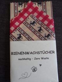 Bienenwachstücher 3-er Set - ölfrei - nachhaltig - wiederverwendbar - Hirsch -  im Labor geprüft - Brotbeutel -Zero Waste - Lunchbag - plastikfrei leben  - Bienenwachstuch - Handarbeit kaufen