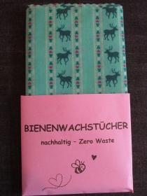 Bienenwachstuch XXL  - Klimaschutz - wiederverwendbar - DAS nachhaltige Geschenk - weniger Müll - Zero Waste - Brottuch - Hirsch - Lunchbag - Weihnachtsgeschenk