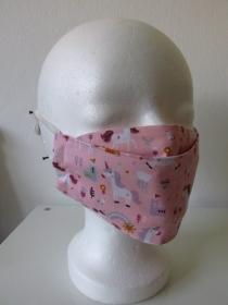 Mund - und Nasenmaske -  rosa - Einhorn - wiederverwendbar - waschbar - zero waste - umweltfreundlich - Handarbeit kaufen
