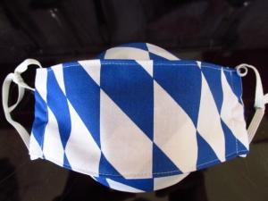 Mund - und Nasenmaske - wiederverwendbar - waschbar - Mundschutz - zweilagig -zur Tracht - bayrisch - Alltagsmaske -  blau / weiße Rauten - Bayern - Handarbeit kaufen