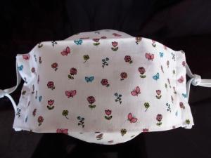 Mund - und Nasenmaske - wiederverwendbar - waschbar - Alltagsmaske - romantisch - zero waste - nachhaltig - Blumen - Schmetterling