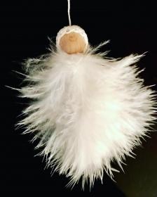 Schutzengel mit gehäkelter Mütze / Kappe - Federengel - Karte - Weihnachtsdeko - Schutzengelkarte - Engel - Christbaumschmu - Weihnachtkarteck - Handarbeit kaufen