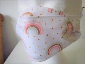 Kindermaske - Mundschutz für Kinder - Mund - und Nasenmaske - wiederverwendbar -  für Kinder - Regenbogen - Glitzer - Rainbow - waschbar - Mundschutz für die Schule - Handarbeit kaufen