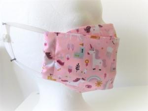 Kindermaske - Mundschutz für Kinder - Mund - und Nasenmaske - wiederverwendbar - Kinder - rosa - Einhorn - waschbar - Mundschutz für die Schule - Handarbeit kaufen