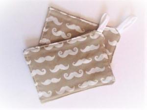 Spültücher  Putztücher zero waste  2-er Set kompostierbar  nachhaltig waschbar Spülschwamm Putzschwamm Moustache beige - Handarbeit kaufen