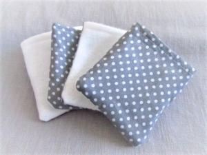 nachhaltige Kosmetikpads  Miniwaschlappen  wiederverwendbare Abschminkpads  zero waste  Make Up Entferner - grau/Pünktchen - Handarbeit kaufen