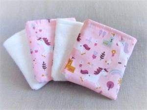 nachhaltige Kosmetikpads  Miniwaschlappen  wiederverwendbare Abschminkpads  zero waste  Make Up Entferner - Einhorn - Handarbeit kaufen