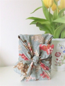 Furoshiki Geschenktücher Geschenkverpackung Zero Waste Ostern Osterverpackung Hasen graublau in