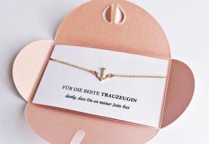 DIE BESTE TRAUZEUGIN Geschenk: Anker Armband GOLD FÜR DIE BESTE TRAUZEUGIN - danke, dass Du an meiner Seite bist rosa Umschlag