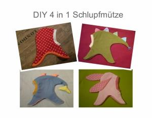 Set 4 in 1 - Schlupfmütze , Hai , Drachen , Hase Kindermütze Kinder Mütze
