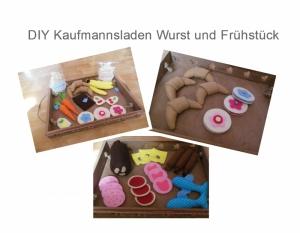 DIY Kaufmannsladen Ebook Nähanleitung Schnittmuster Wurst , Obst , Tee