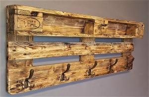 Garderobe Holz aus Europalette mit Aufhängung incl. 5 Kleiderhaken Palettengarderobe Wandregal Ablage vintage Jackenständer Palettenmöbel