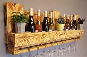 Weinregal Holz vintage Flaschenregal Weinflaschenregal Wandregal Regal Hängeregal Palettenregal Palettenmöbel Bar Holzregal Shabby