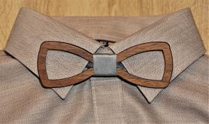 Holzfliege für Männer Herren-Fliege mit Ausschnitt und elegantem Stoffband grau handgefertigt Shabby Chic Querbinder Bräutigam Hochzeit