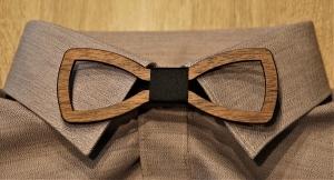 Holzfliege für Männer Herren-Fliege mit Ausschnitt und elegantem Stoffband schwarz handgefertigt Shabby Chic Querbinder Bräutigam Hochzeit