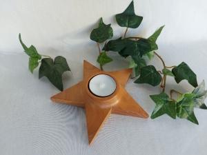 Teelichthalter aus Holz in Sternform 14 cm kaufen - Handarbeit kaufen