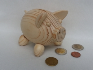 gedrechseltes Sparschwein aus Holz, Glücksschwein