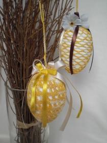 1 Paar behäkelte große Ostereier (10 cm), in gelb, Osterdeko kaufen   - Handarbeit kaufen
