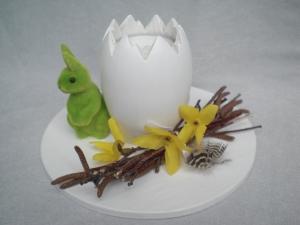 gedrechseltes weißes Holzosterei als Teelichthalter, dekoriert, in Handarbeit hergestellt kaufen - Handarbeit kaufen