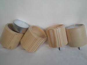 4 gedrechselte  Maxi-Teelichthalter für den Adventskranz, aus Holz, für große Teelichter, kaufen