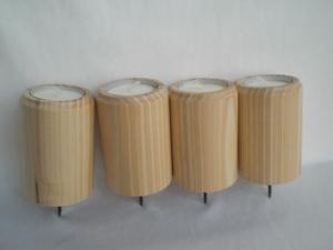 4 gedrechselte Teelichthalter (Teelichte 4 cm) für den Adventskranz, aus Holz, kaufen