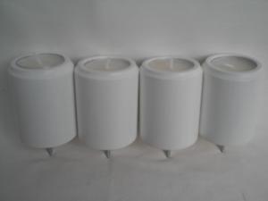 4 gedrechselte weiße Teelichthalter (Teelichter 4 cm) für den Adventskranz, aus Holz, kaufen
